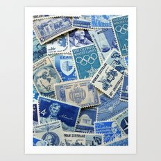 Vintage Postage Stamp Collection - 02 (Blues) Art Print