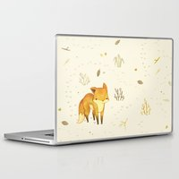 friends Laptop & iPad Skins featuring Lonely Winter Fox by Teagan White