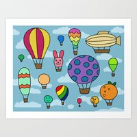 Happy Hot Air Balloons Art Print