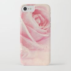 Antique Rose - pastel pink & cream vintage linen textured floral iPhone 7 Slim Case