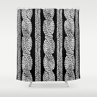 Cable Row Black Shower Curtain