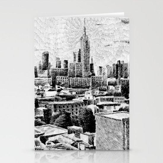 New York City - Fingerprint - Black ink Stationery Card