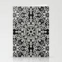 Black & White Folk Art Pattern Stationery Cards