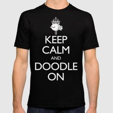 Keep Calm & Doodle On (Red) SMALL Black Mens Fitted Tee