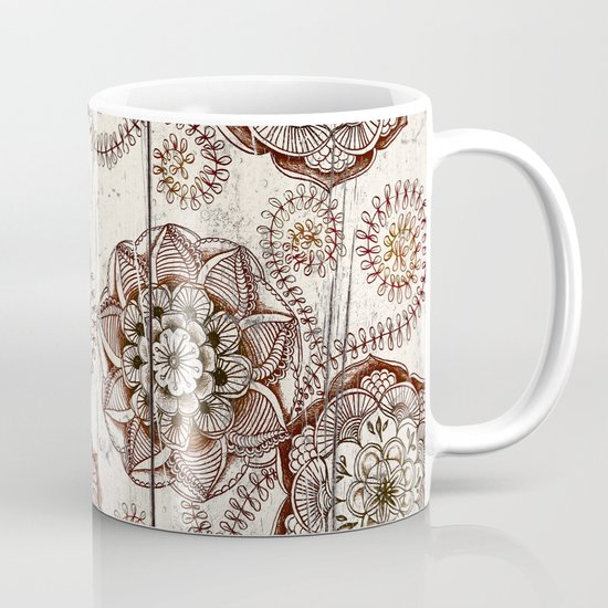Coffee & Cocoa - brown & cream floral doodles on wood Mug