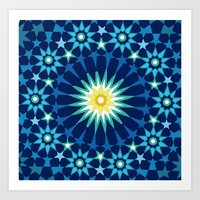 Sacred geometry Blue Art Print