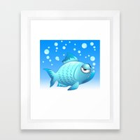 Grumpy Fish Cartoon Framed Art Print