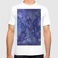 Night Sky Galaxy Stars   Watercolor Space Texture Mens Fitted Tee White SMALL