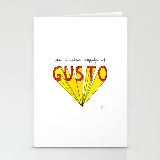 an endless supply of gusto Stationery Card