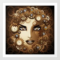Steampunk Girl Portrait  Art Print