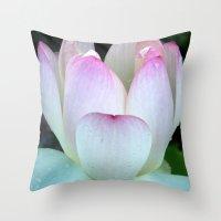 Pink Lotus Rain Drops Throw Pillow