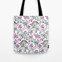 Dinosaurs and Roses - white Tote Bag