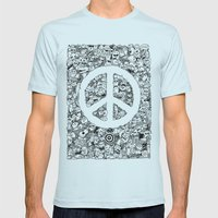Peace Doodle Mens Fitted Tee Light Blue SMALL