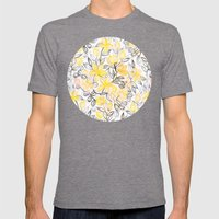 Sunny Yellow Crayon Striped Summer Floral Mens Fitted Tee Tri-Grey SMALL