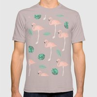 Hand painted pastel  pink flamingo tropical leaf watercolor pattern Mens Fitted Tee Cinder SMALL