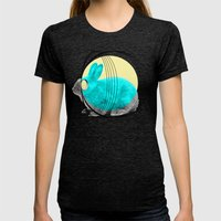 Hypnotic Rabbit Womens Fitted Tee Tri-Black SMALL
