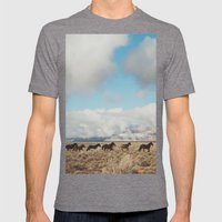 Running Reservation Horses Mens Fitted Tee Tri-Grey SMALL