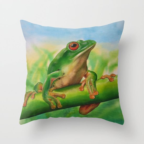 Green Treefrog Throw Pillow