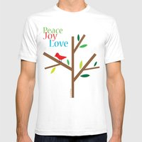 Peace Joy Love Mens Fitted Tee White SMALL