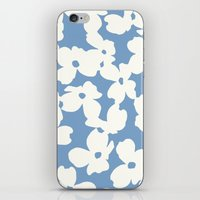 Dogwood Floral Print: Sky Blue iPhone & iPod Skin
