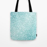 Blue Paisley Design Tote Bag