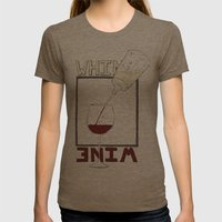 Whine to Wine Womens Fitted Tee Tri-Coffee SMALL