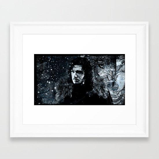 Winter's Coming Black Border Framed Art Print