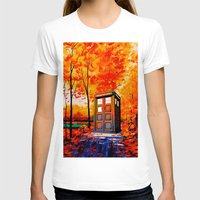 T-shirts featuring  tardis in the woods by lindow