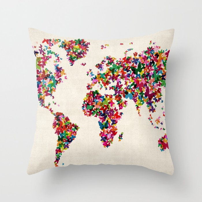Throw Pillows With World Map : Butterflies Map of the World Map Throw Pillow by ArtPause Society6
