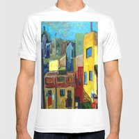 Barcelona Rooftops Mens Fitted Tee White SMALL