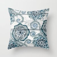 Navy Blue Floral Doodles on Wood Throw Pillow