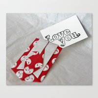 Love You - Origami Canvas Print