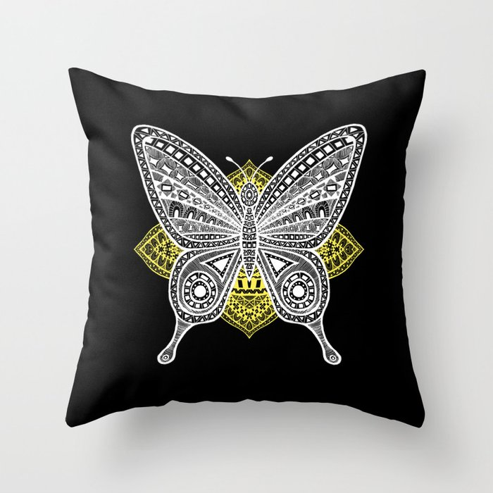 The Butterfly Watercolor Illustration on Throw Pillow by Haidi Shabrina