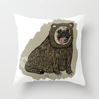 Bear Pug Throw Pillow