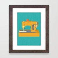 Sewing Machine Yellow Framed Art Print