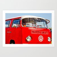 Red VW Bus Bold Print Art Print