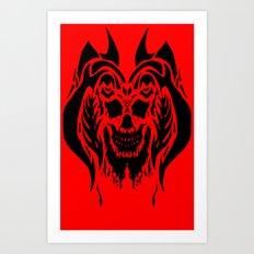 Black Drip Skull Art Print