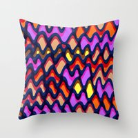 Painted and digital wibbly pattern Throw Pillow
