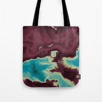 Blue And Burgundy Clouds Tote Bag