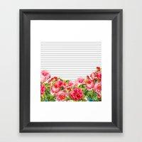 Floral Stripes Framed Art Print