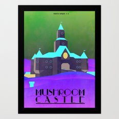 Mario - Mushroom Castle travel poster Art Print