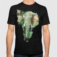 Watercolor Elephant Mens Fitted Tee Tri-Black SMALL
