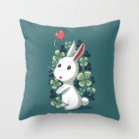 Clover Bunny Throw Pillow