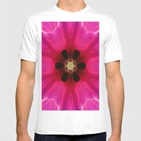 Pink Flower Abstract Mens Fitted Tee White SMALL