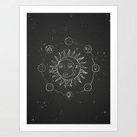 Moon, sun and elements Art Print