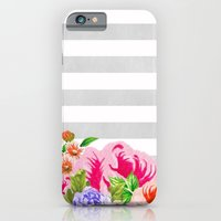 iPhone & iPod Case featuring FLORAL GRAY STRIPES by natalie sales
