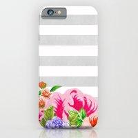 FLORAL GRAY STRIPES iPhone 6 Slim Case