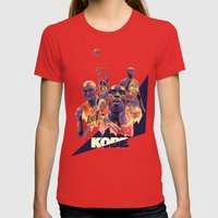 Kobe Bryant NBA Illustra… Womens Fitted Tee Red SMALL