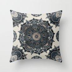 Silver Mandala Throw Pillow