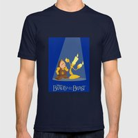 Beauty and the Beast Mens Fitted Tee Navy SMALL